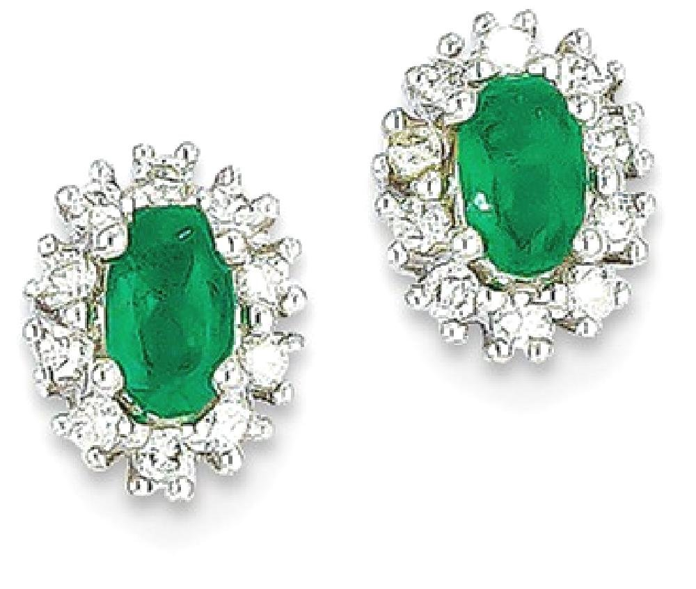 ICE CARATS 14k White Gold 1/5ct Diamond Green Emerald Post Stud Ball Button Earrings Fine Jewelry Gift Set For Women Heart