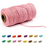flipped (100 Yards/2mm/19 Colors Optional) Cotton Baker Twine DIY Craft Macramé Natural Cotton Rope Craft Making Knitting Cord String Rope DIY Wedding Decor Supply Christmas Wrapping(Pink)
