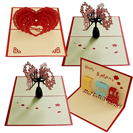 Amazon Com Pack Of 4 Pop Up Card Paper Craft For Wife Husband Kids