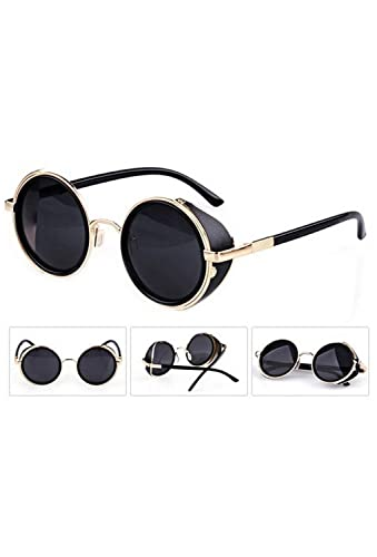 5850ca54af SODIAL(R) 80 s Vintage Style Classic Round Steampunk Sunglasses -Black with  Gold Edge  Amazon.in  Clothing   Accessories