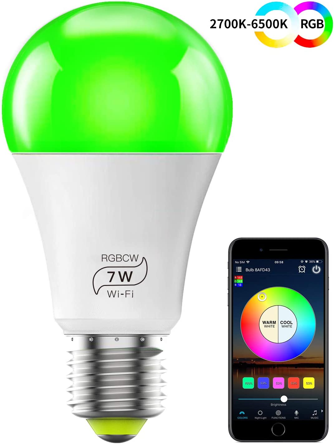 MagicLight Smart Light Bulb (No Hub Required), E27 A19 7W (60w Equivalent) Multicolor 2700k-6500k Dimmable WiFi LED Bulb, Compatible with Alexa Google Home Siri IFTTT