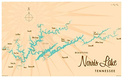 Norris Lake Tennessee Map.Amazon Com Norris Lake Tennessee Map Vintage Style Art Print By