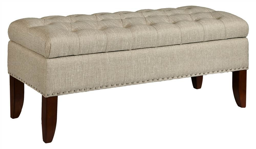 """Pulaski Hinged Top Button Tufted Bed Oatmeal Beige, 41.50"""" L x 15.75"""" D x 18.50"""" H Upholstered Storage Bench,"""