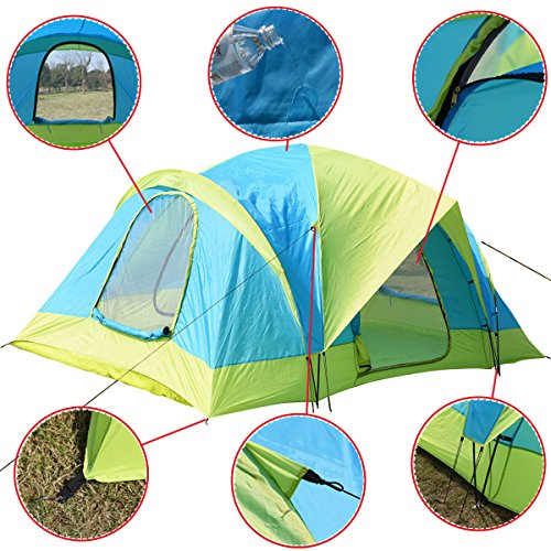 7' Fry Pan (Waterproof 10 Person Camping Tent Outdoor Hiking Two Layer Backpack Blue/Green + FREE E-Book)