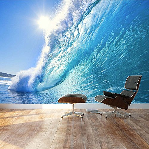 Wall26 – Clear Ocean wave and dream surfing destination – Landscape – Wall Mural, Removable Sticker, Home Decor – 66×96 inches