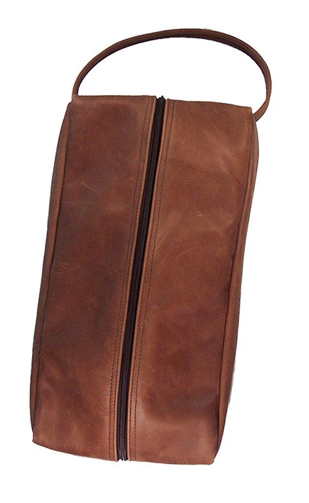 TPK Full Grain Leather Full Grain Shoe Bag (Chestnut Brown) by TPK