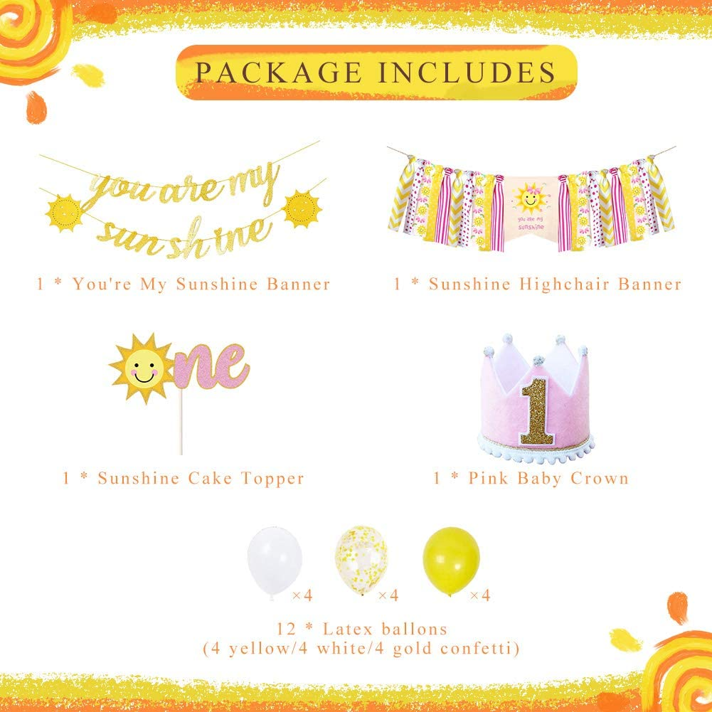PRATYUS Youre My Sunshine First Birthday Party Decoration With Yellow Birthday Banner and Garland,Baby Crown Hat and Cake Topper for Baby Girl Boy Photo Booth Props