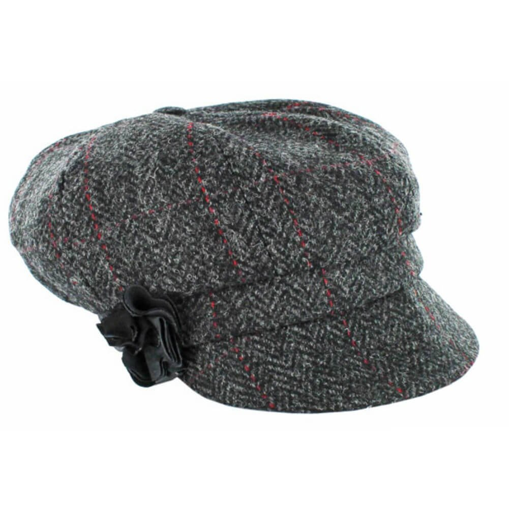 Ladies Newsboy Cap - One Size, Gray