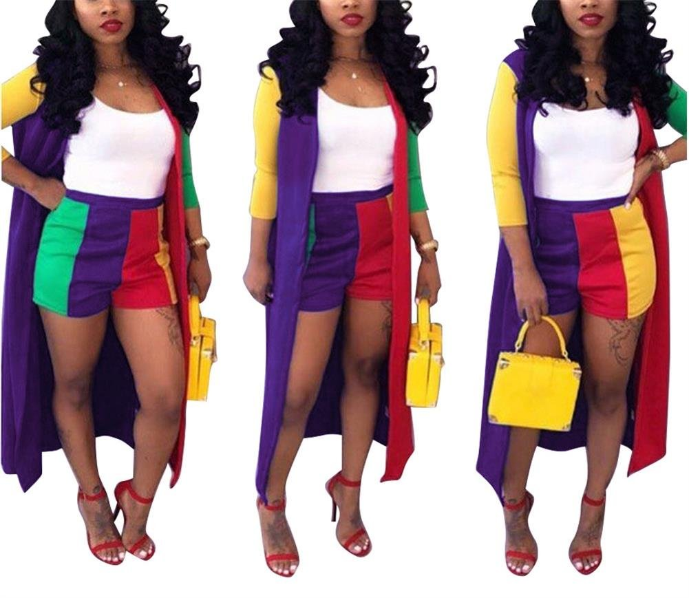 LKOUS Women Summer 2 Piece Outfit 3/4 Sleeve Long Kimono Cardigan and Bodycon High Waisted Short Pants Clubwear