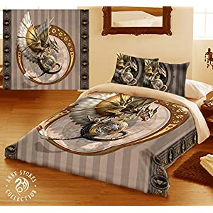 Wild Star Home Steampunk Dragon Duvet & Pillows Case Covers Set for Queensize Bed Artwork by Anne Stokes
