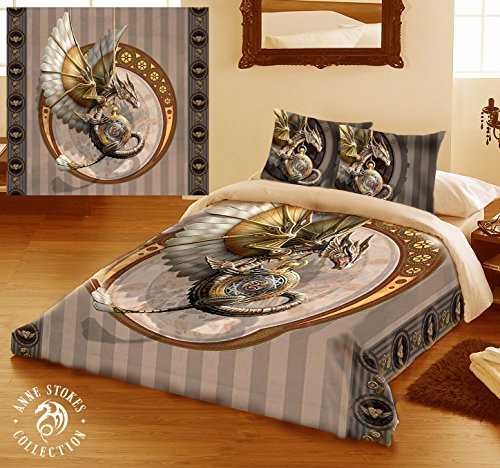 STEAMPUNK DRAGON Duvet & Pillows Case Covers Set for Queensize Bed Artwork By Anne Stokes by Wild Star Home