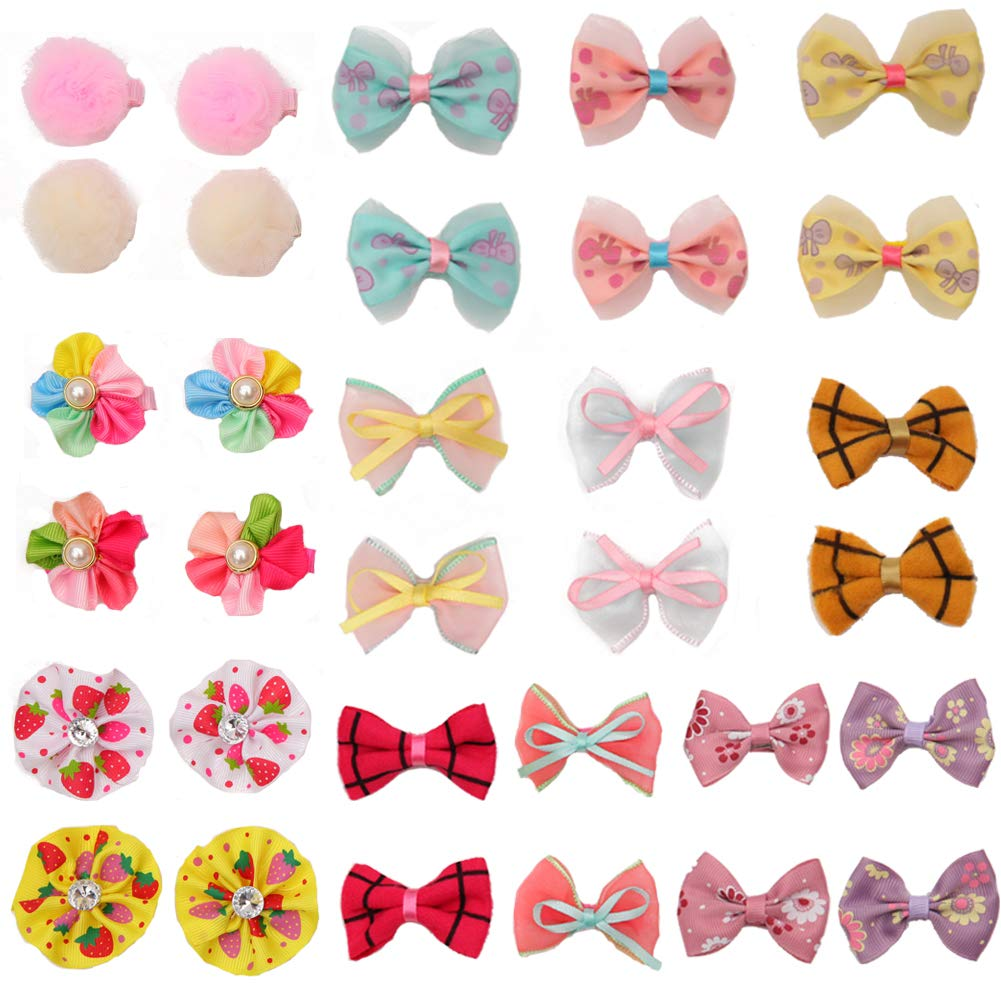 2 pony princess Dog Bows Hair Accessories with Clip Pet Grooming Products Puppy Small Bowknot Handmade Mix Styles Small Middle Hair Bows Topknot 32PCS 16Pairs