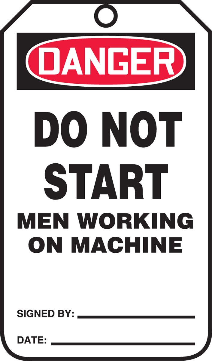 LegendDanger DO NOT Start Men Working ON Machine 5.75 Length x 3.25 Width x 0.010 Thickness Red//Black on White Pack of 25 Accuform MDT203CTP PF-Cardstock Safety Tag