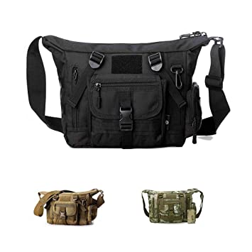 Amazon.com  Military Shoulder Bag Large Water Resistant Daypack with ... 7497dd1557620