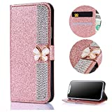 Stysen Galaxy S7 Wallet Case,Bling Rose Gold Bookstyle with Strass Butterfly Bowknot Buckle Protective Wallet Case Cover for Samsung Galaxy S7-Diamond,Rose Gold