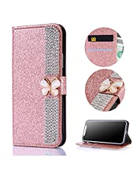 Stysen Galaxy A5 2017 Wallet Case,Galaxy A5 2017 Glitter Flip Case,3D DIY Handmade Shiny Bling Sparkle Diamond Rhinestone Pattern Rose Gold Pu Leather Soft Inner Folio Magnetic Closure Bookstyle Card Slots Pouch with Strass Butterfly Bowknot Buckle and Stand Function Luxury Fashinable Elegant Protective Wallet Case Cover for Samsung Galaxy A5 2017-Diamond,Rose Gold