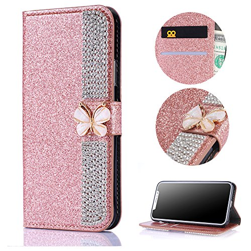 Stysen Wallet Case for Huawei P10,Bling Rose Gold Bookstyle with Strass Butterfly Bowknot Buckle Protective Wallet Case Cover for Huawei P10-Diamond,Rose Gold by Stysen
