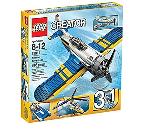 LEGO® CREATOR® 3-in-1 Aviation Adventure Building Set - Helicopter & Boat| 31011