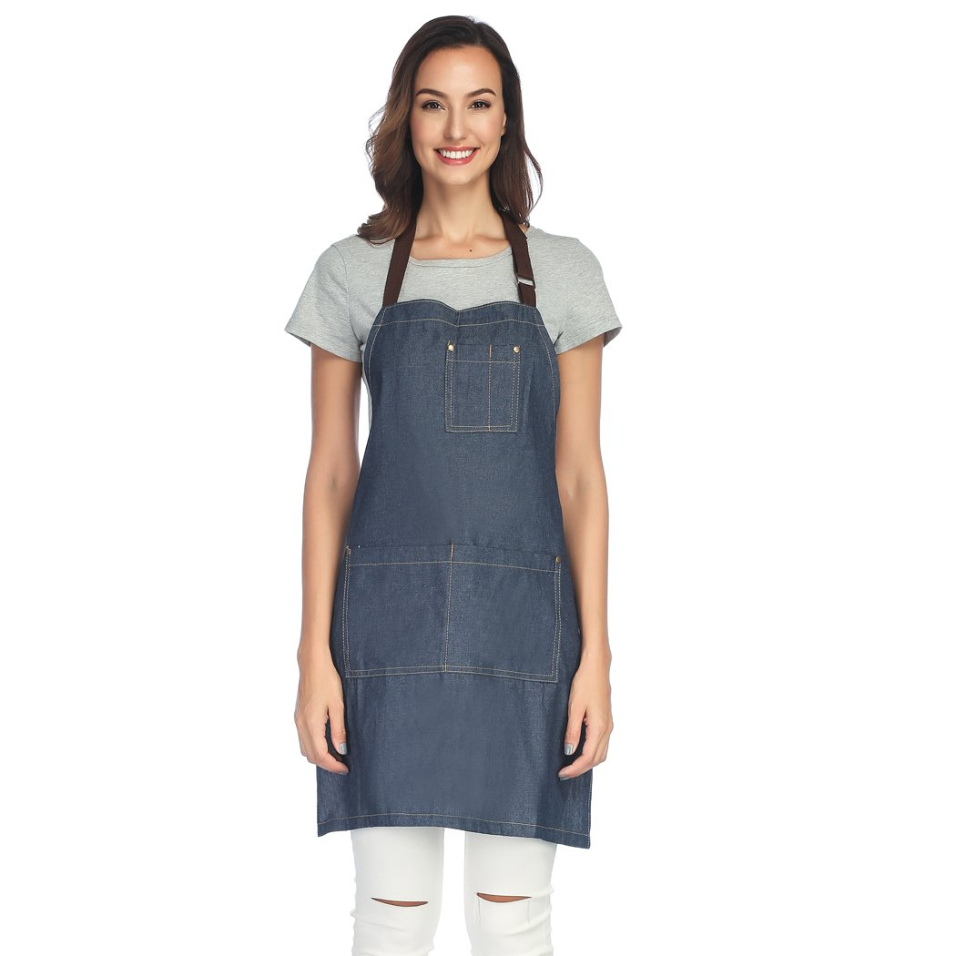 Unisi Unisex-adult Work Apron With Three Pockets Cross Back Straps And Adjustable M to XXXL(Tidal Blue)