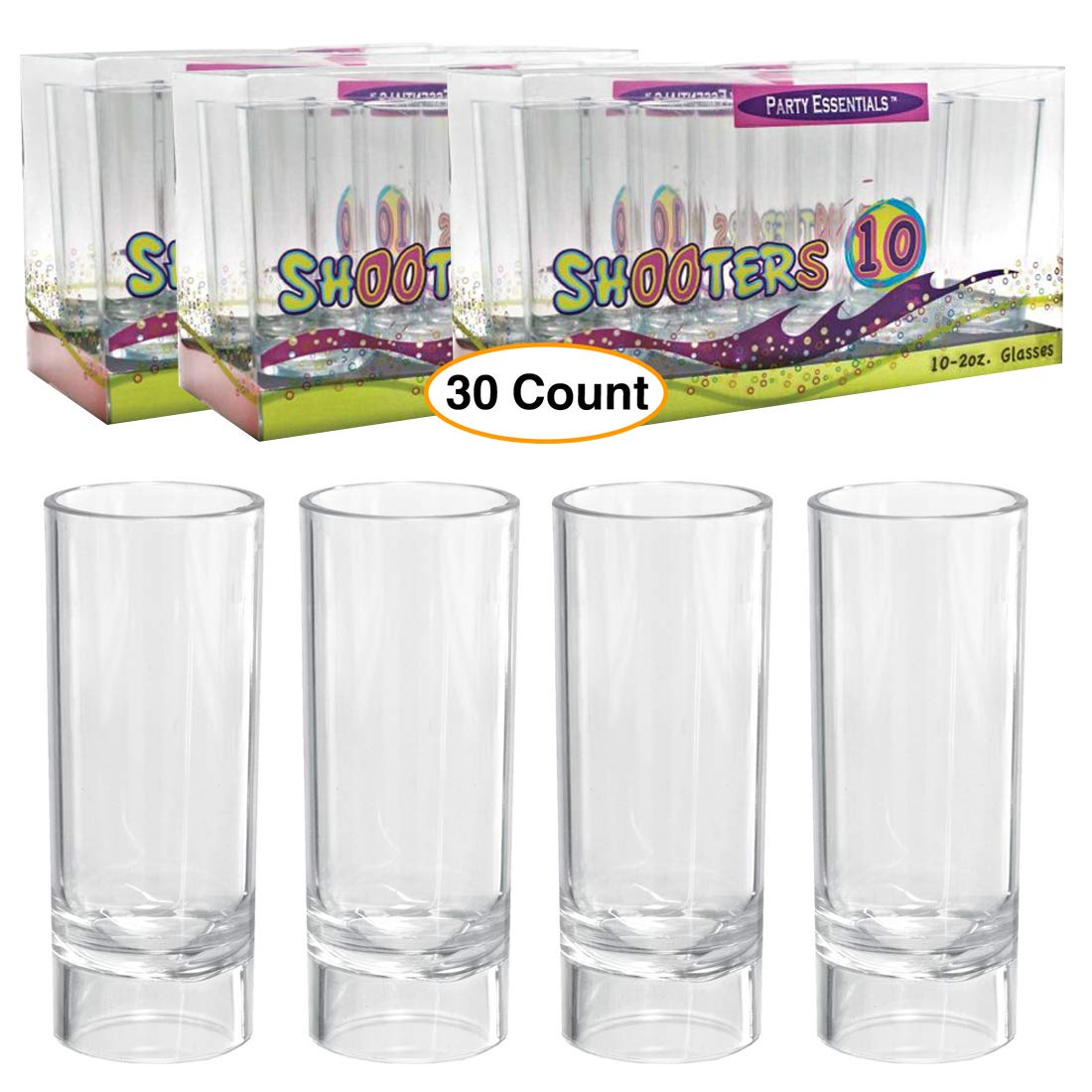 Premium Clear Shooter Shot Glasses 2 oz. tall & Durable Heavy Plastic for parties Disposable or reusable (30 Count) by NW Party