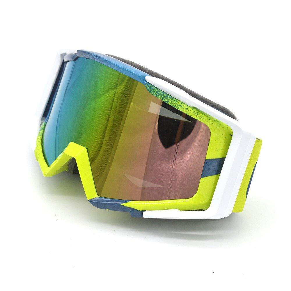 Evomosa Adulte Motocross Moto ATV Off-road Lunettes de soleil de lunettes de snowboard/ski casque de vélos anti UV (Coloré objectif: Bleu + Jaune fluo) 6OImGyi