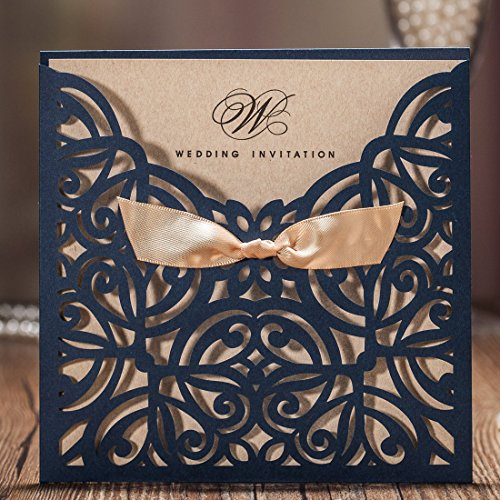 Printable Dinner Invitations - Wishmade Navy Blue Square Laser Cut Wedding Invitations Cards with Bowknot Lace Sleeve Cards Printable Kraft Paper for Engagement Birthday (pack of 50pcs)