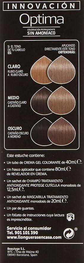 Llongueras Optima Tinte de Cabello Permanente sin Amoniaco Tono #9.1 Rubio Muy Claro Ceniza