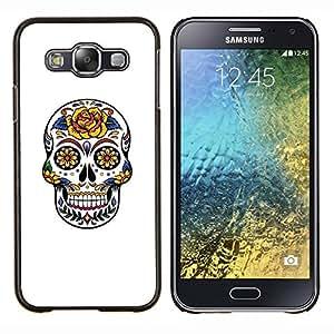 Be-Star Único Patrón Plástico Duro Fundas Cover Cubre Hard Case Cover Para Samsung Galaxy E5 / SM-E500 ( Floral Rose Amour de crâne Blanc Jaune )