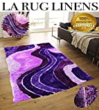 Dark Purple Light Purple Shaggy Shag Area Rug 5'x7′ Art Deco' Design High End Designer Quality Flokati High Pile Soft Iridescent Sheen Ultra Plush Living room Bedroom 3030
