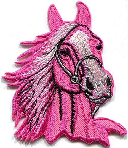 Horse colt bronco filly mustang pony stallion steed pink applique iron-on patch new