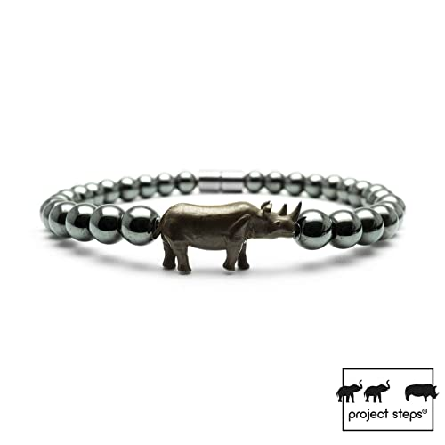 Project Steps Jewell Natural Dark Hematite Gemstones Bead Bracelet With Oxidize Silver Rhino For Men And Women | Support Wildlife! by Amazon