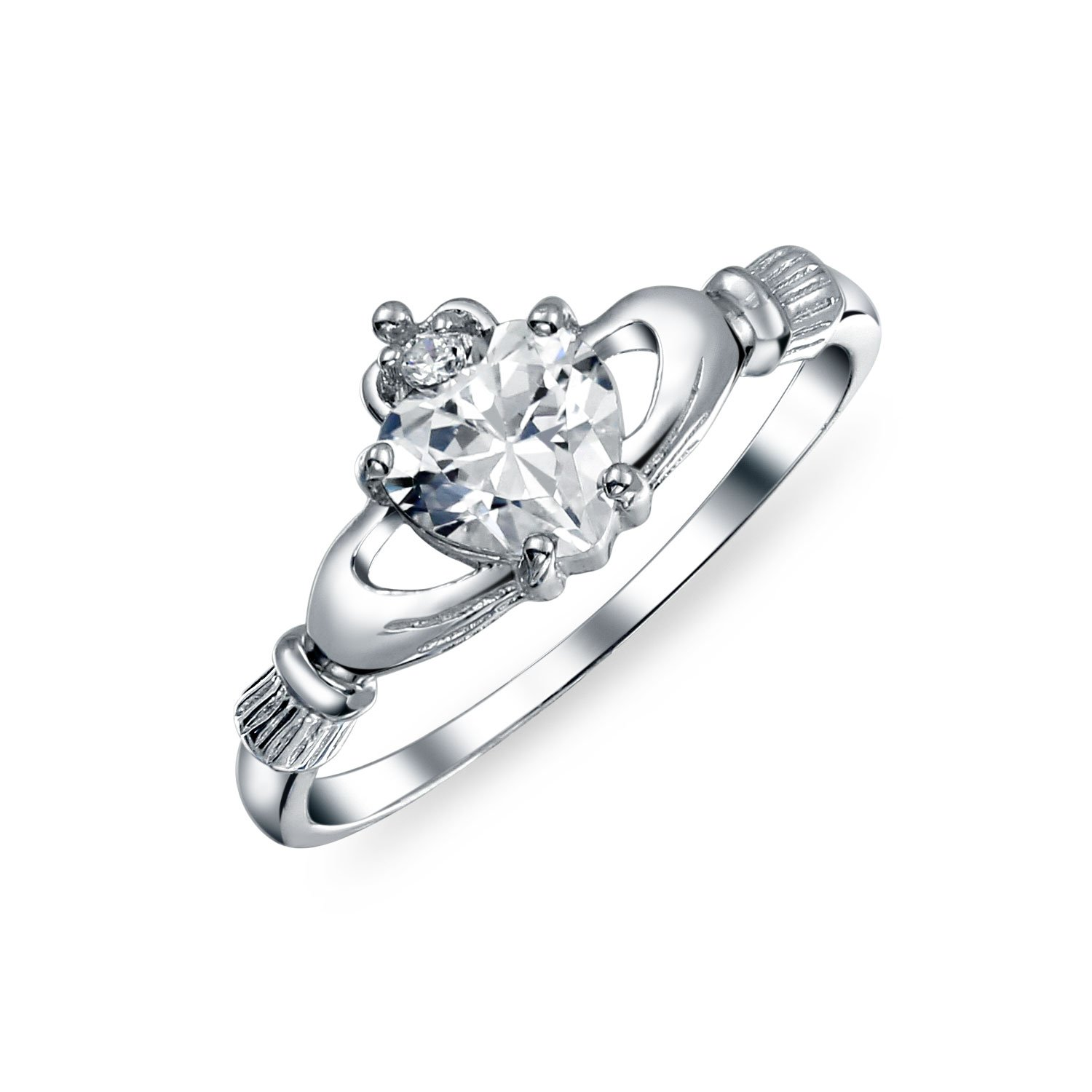 Bling Jewelry Irish Celtic Sterling Silver Heart CZ Claddagh Ring SI-RC103531
