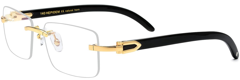 6ed8755f602 Amazon.com  HEPIDEM Buffalo Horn Handmade Sun Glasses Square Rimless Luxury  Sunglasses 0816 (black