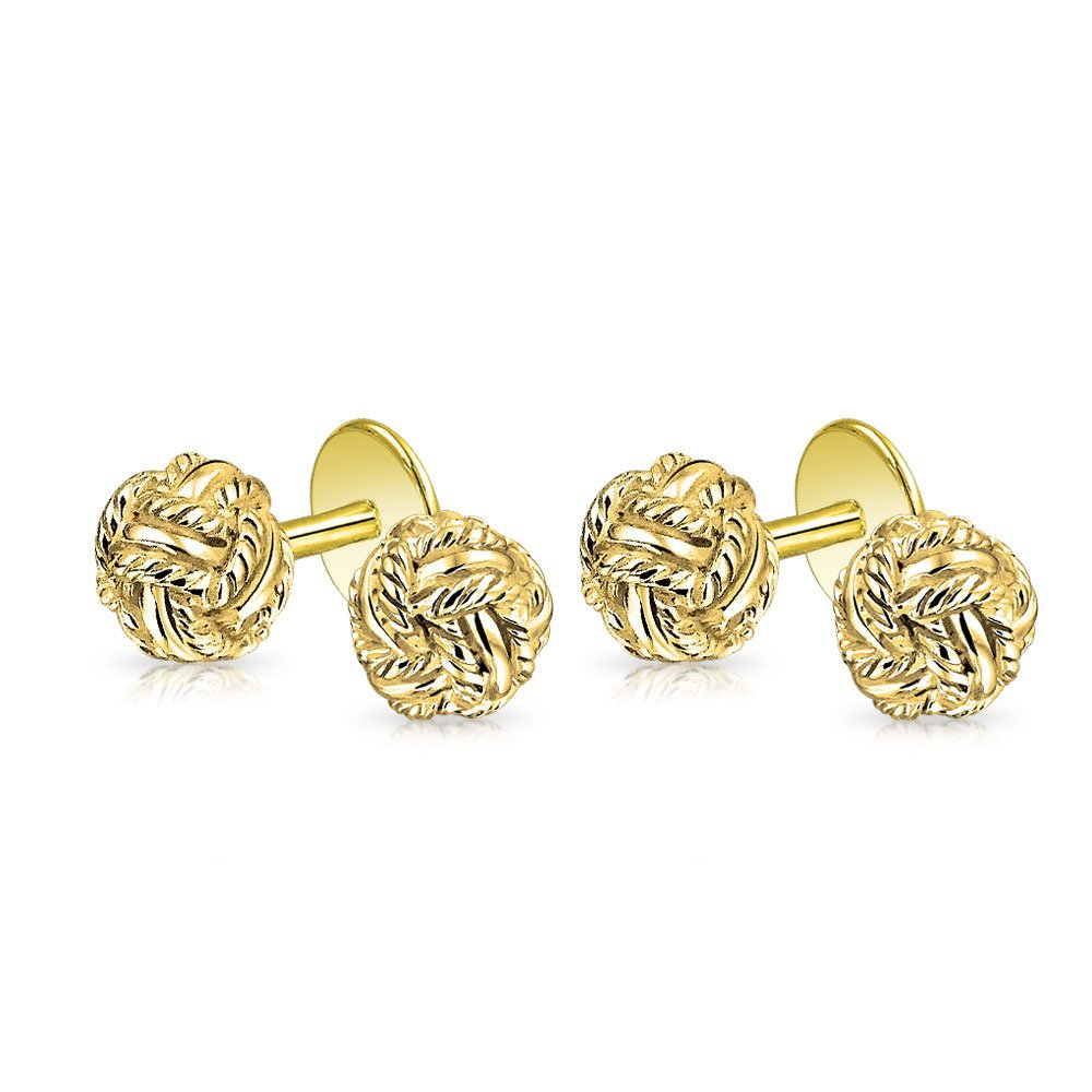 Bling Gold Plated 925 Sterling Silver Classic Double Woven Love Shirt Studs Set
