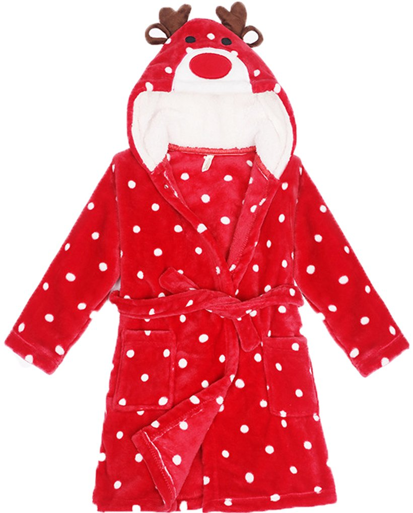 Shiny Toddler Lightweight Cotton Fleece Animal Sleeping Bathrobe with Hood