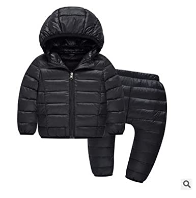 9633b4a680002 Kids Snow Suits Hooded Girls Clothes Down Jacket+Trousers Waterproof  Toddler Boys Clothes Winter Outdoot Children Clothing: Amazon.co.uk:  Clothing