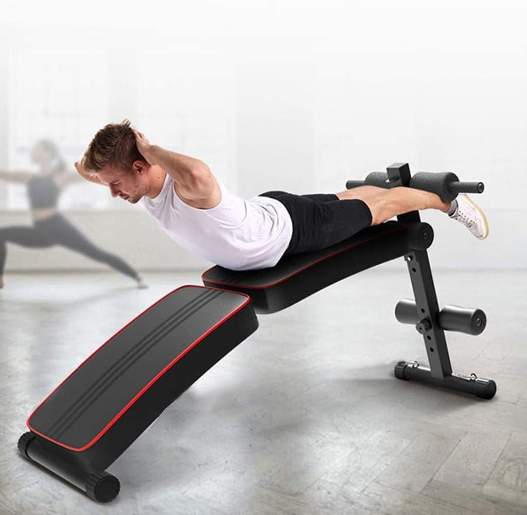 【US Fast Shipment】Foldable Adjustable Sit Up Bench Decline Sit Up Bench Crunch Board Fitness Home Gym Exercise Sport for Full Body Workout Utility Weight Bench Multi-Workout Bench