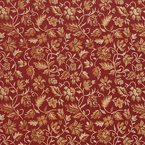 E619 Floral Red Gold and Green Damask Upholstery and Window Treatment Fabric by The Yard
