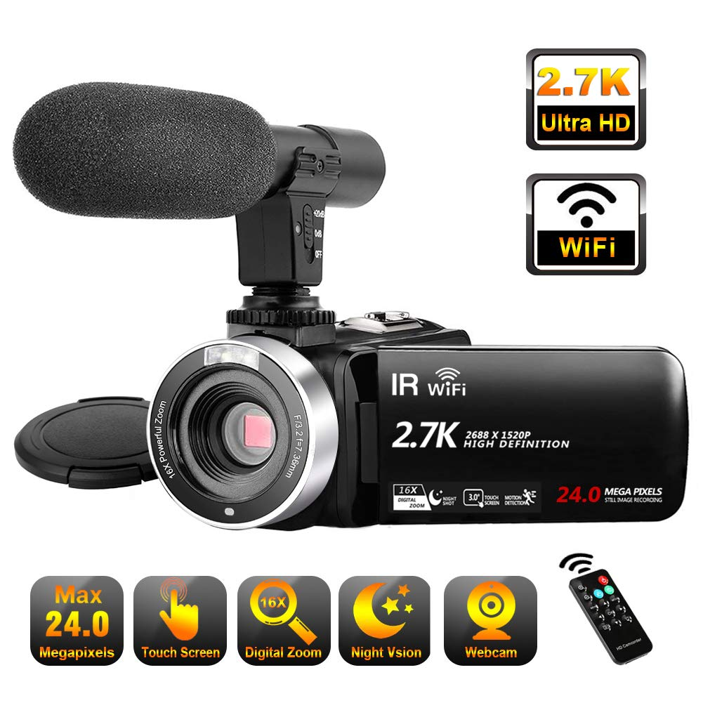 Video Camera Camcorder with Microphone WiFi IR Night Vision Vlogging Camera Ultra HD 2.7K 30FPS 24MP 16X Digital Zoom 3'' LCD Touch Screen YouTube Camera Recorder