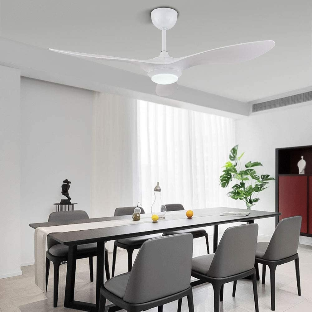 Extra Quiet 48 Ceiling Fan LED Lighting Set Modern Blades Quiet reversing Motor Gray Remote Control 3 speeds 3 Color Temperature Switch
