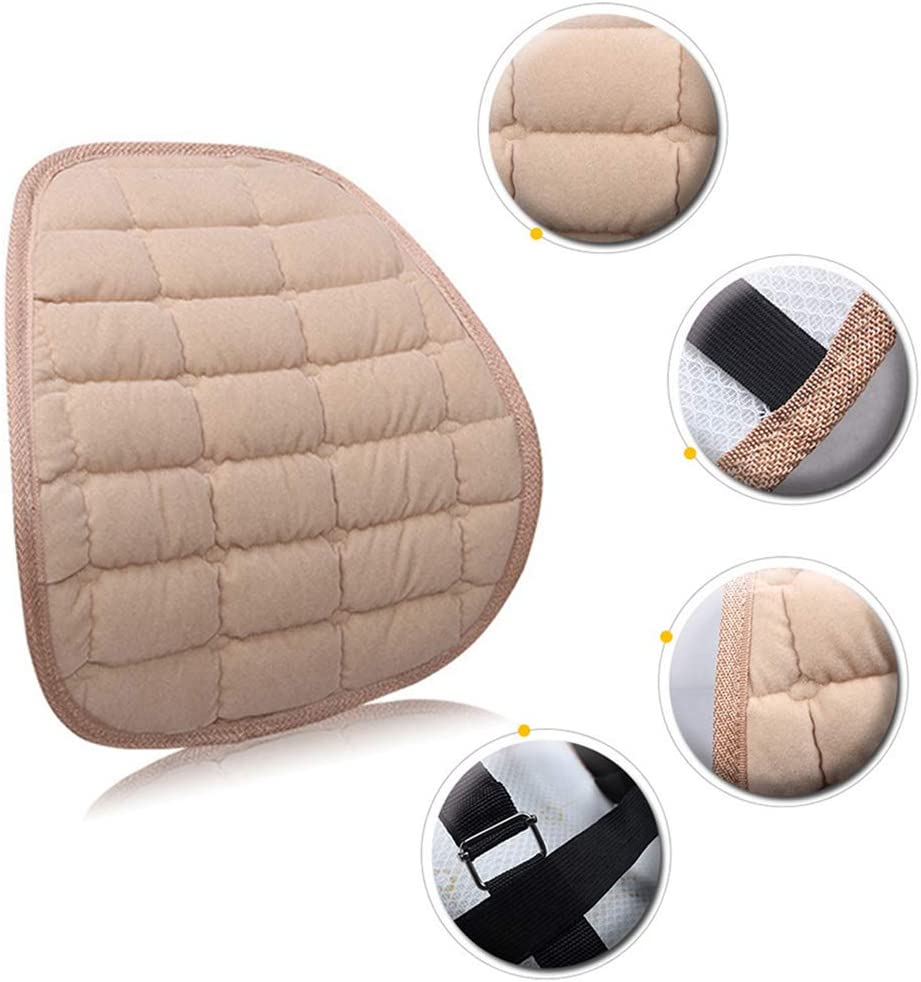 Shentesel Car Waist Cushion Stylish Winter Seat Chair Flocking Soft Warm Back Support Pad Red