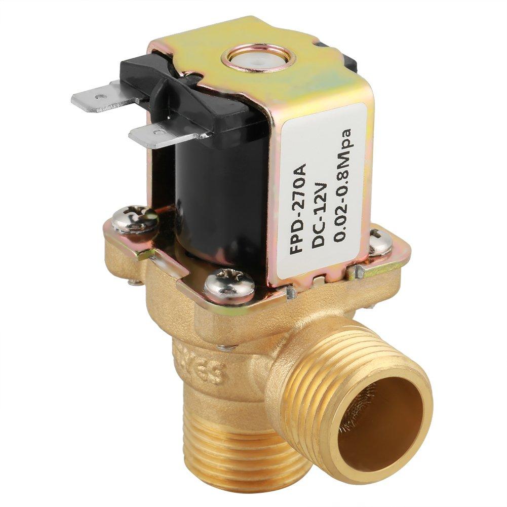 DC 12V G1/2 Válvula Solenoide, DN15 Electroválvula N/C de Latón, Normalmente Cerrada, Anticorrosión, Resistente a Humedad y Altas Temperaturas, para Dispositivo de Limpieza de Sensores Infrarrojos
