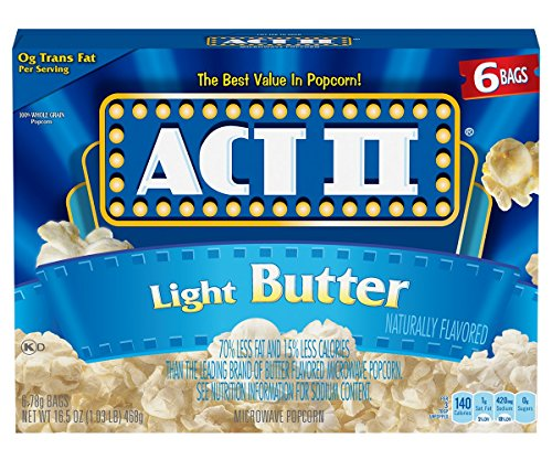 Act II Popcorn Light Butter, 6 Count 78g. bags(Pack of 6) (Butter Flavor Light)