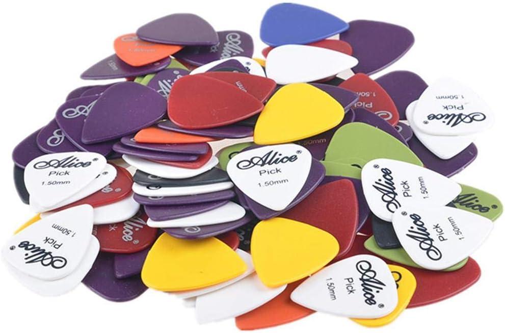 Malayas Púas de Guitarra Pack de 100 unidades Púas para Guitarra Eléctrica Acústica Española y Bajo Colores Lindos Surtidos 6 Grosores 0,58mm/0,71mm/0,81mm/0,96mm/1,2mm/1,5mm Con Caja de Almacenaje