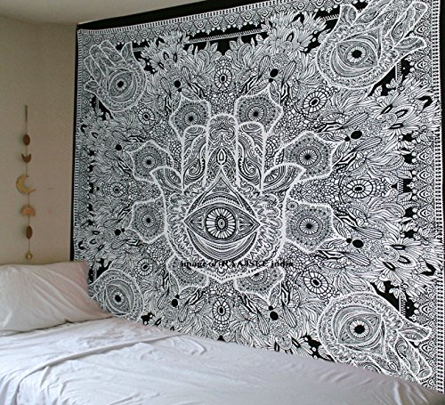 Tapestry Black White Hamsa Hand Sketched Good luck Mandala Indian Cotton Wall Hanging By Raajsee,Hippie Bohemian Dorm Decor,Boho Hippy Queen Bedspread Meditation Yoga Throw Christmas Gift 220x230cms