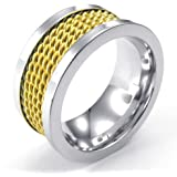 Konov Jewellery Mens Stainless Steel Ring, Classic Wire Band, Color Gold Silver (with Gift Bag)