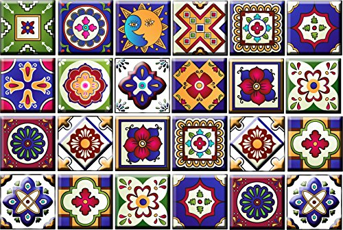 Mi Alma Tile Stickers 24 PC Set Authentic Traditional Talavera Tiles Stickersl Bathroom & Kitchen Tile Decals Easy to Apply Just Peel & Stick Home Decor 6x6 Inch (Kitchen Tile Stickers M)