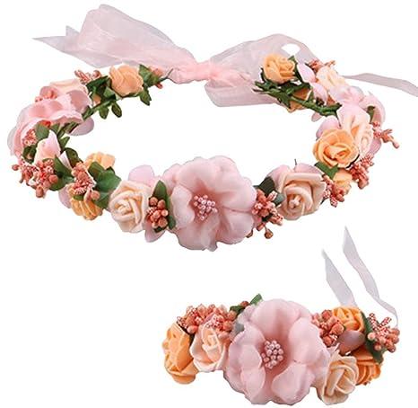 Pack de 2 frcolor Mujer Corona de flores corona flores diadema con boda y mu/ñeca banda Set