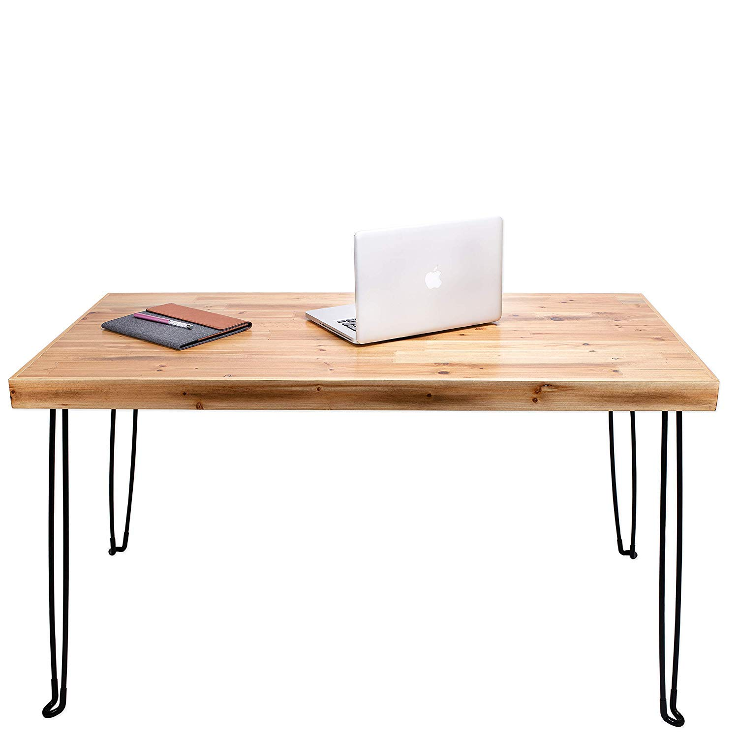 Folding Wood Metal Desk 47'' | Small Lightweight Portable Modern Table for Writing Computer Laptop | Industrial Rustic Style Foldable Workstation with Hairpin Legs | No Assembly Required | By Sleekform by Sleekform