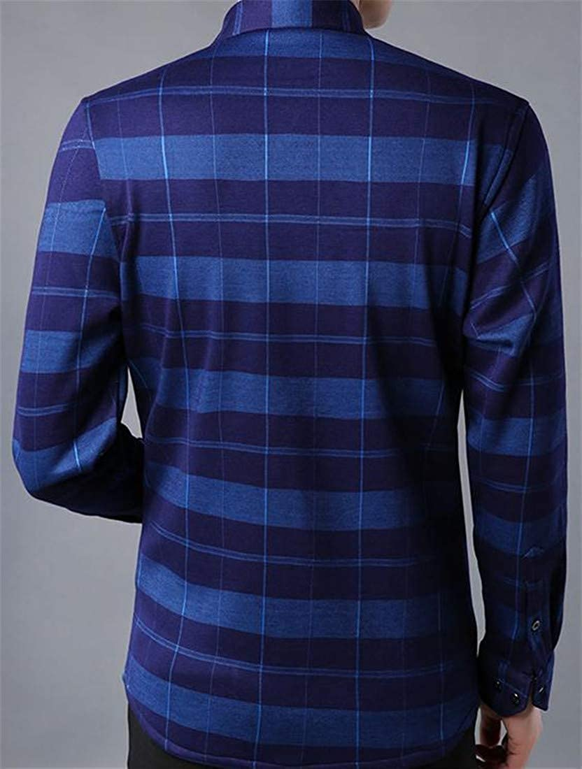 Wofupowga Mens Thick Fleece Winter Button Down Plaid Long Sleeve Shirts